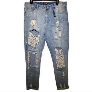 Distressed Beaded Detail Jeans